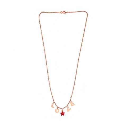 Collana argento 925 oro rosa lettere personalizzate nome e stella rossa