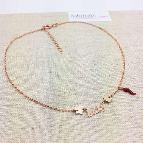 Collana argento 925 oro rosa Lucky e cornetto rosso