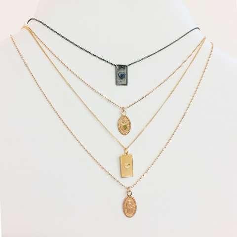 Collana argento 925 oro rosa medaglietta Mano di Fatima