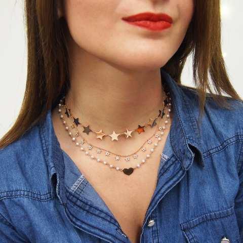 Collana argento 925 oro rosa micro-stelle brillanti clear e neri