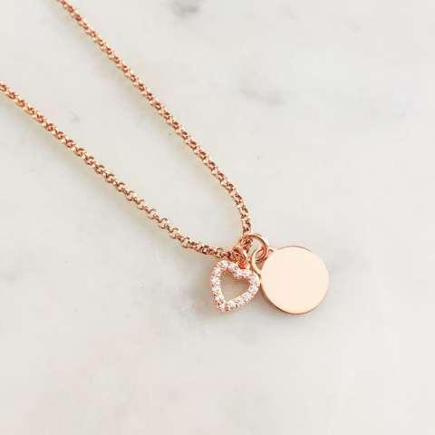 Collana argento 925 oro rosa mini disco incidibile e cuore vuoto Zirconi