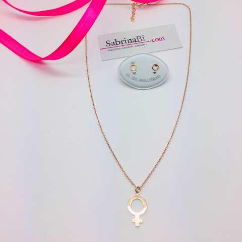 Collana argento 925 oro rosa pendente Donna