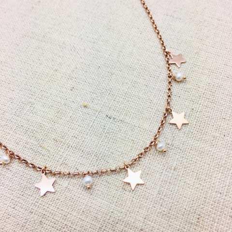 Collana argento 925 oro rosa Perla