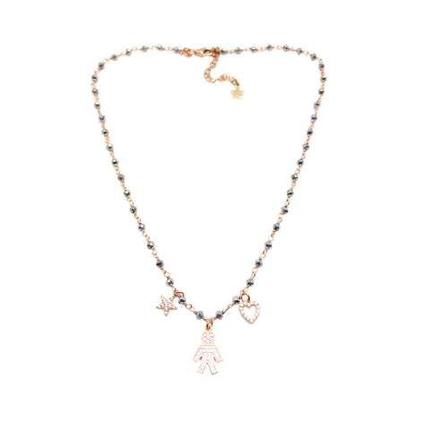 Collana argento 925 oro rosa rosario Ematite grigia Bebè Boy Zirconi