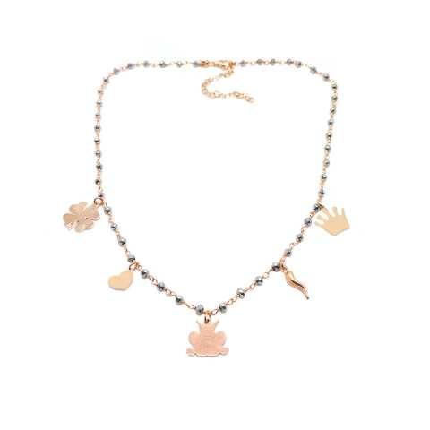 Collana argento 925 oro rosa rosario Ematite grigia e charms oro rosa