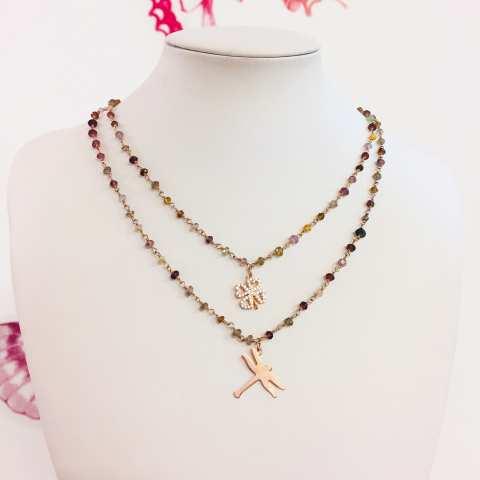 Collana argento 925 oro rosa rosario pietre dure Quadrifoglio Zirconi