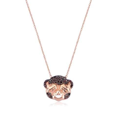Collana argento 925 oro rosa Scimmietta brillanti