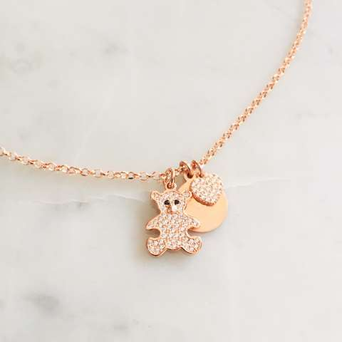 Collana argento 925 oro rosa You are my teddy bear