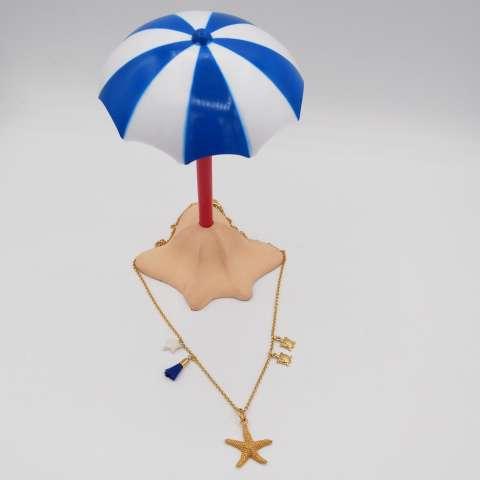 Collana argento 925 placcato oro stella marina e tartarughe