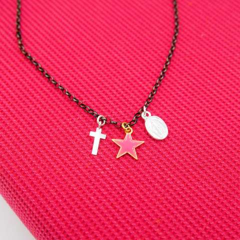 Collana argento 925 rodiato nero stella, croce e Madonnina