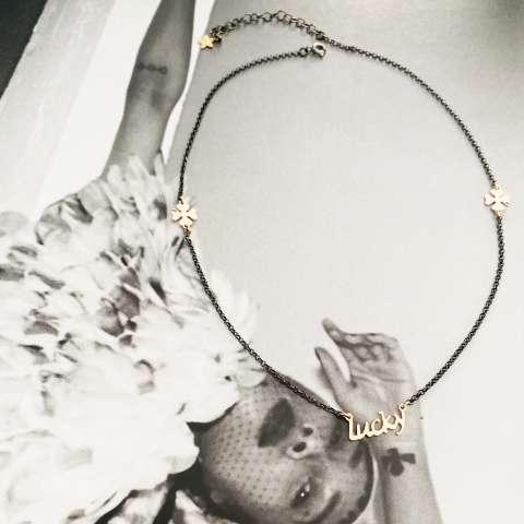 Black rhodium sterling silver Zada necklace