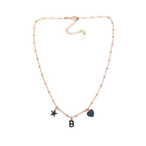Collana argento 925 rosario oro rosa lettera personalizzata iniziale nome e charms Zirconi neri