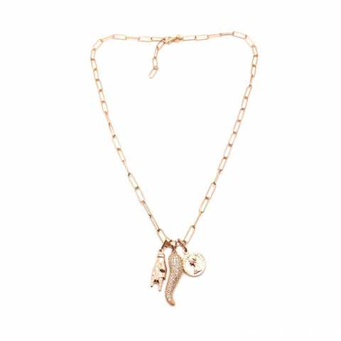 Collana catena graffetta piccola argento 925 oro rosa charms Anti-sfiga