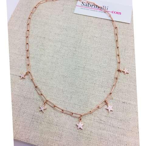 Collana catena graffetta piccola argento 925 oro rosa Stelle Zirconi