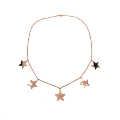 Collana choker argento 925 oro rosa ciondoli 5 Stelle grandi