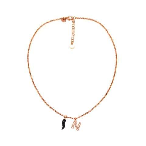 Collana choker argento 925 oro rosa lettera iniziale nome Zirconi e cornetto nero