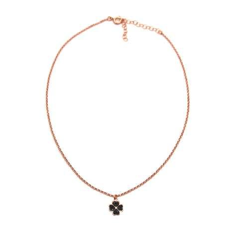 Collana choker argento 925 oro rosa Quadrifoglio piccolo Zirconi neri