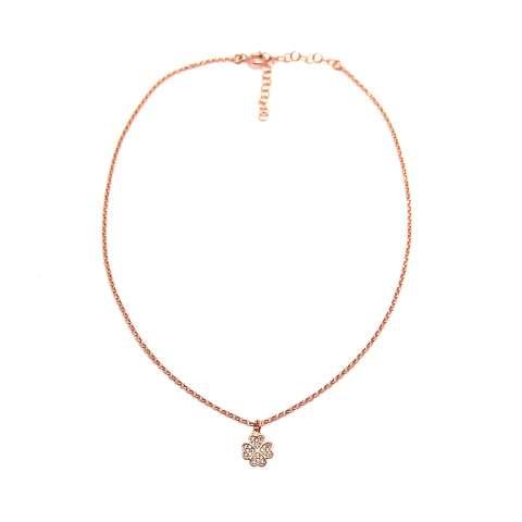 Collana choker argento 925 oro rosa Quadrifoglio piccolo Zirconi