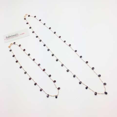 Collana choker argento 925 oro rosa rosario perle e Ametista