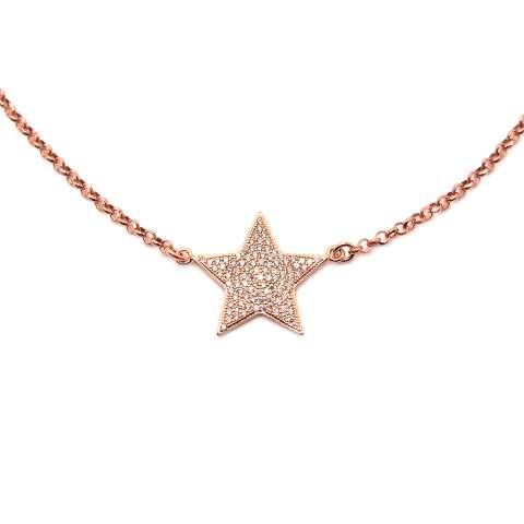 Collana choker argento 925 oro rosa Stella maxi Zirconi