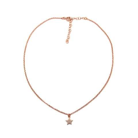 Collana choker argento 925 oro rosa Stella mini Zirconi