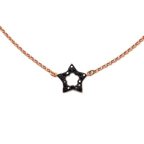 Collana choker argento 925 oro rosa Stella vuota Zirconi neri
