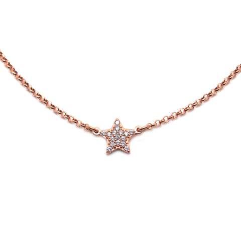 Collana choker argento 925 oro rosa Stella Zirconi