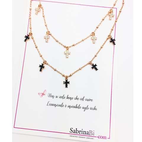 Collana choker argento 925 rosario oro rosa mini Croci Zirconi neri