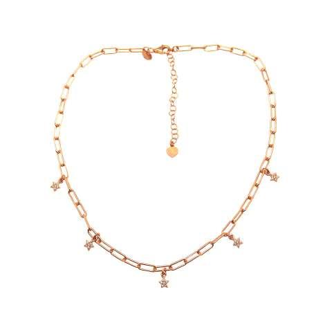 Collana choker catenella graffetta piccola argento 925 oro rosa Stelle Zirconi