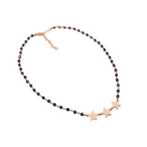 Collana choker girocollo argento 925 oro rosa rosario Spinelli neri e 3 stelle