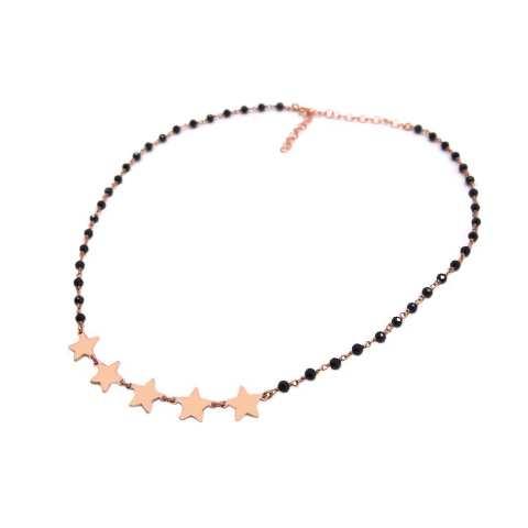 Collana choker girocollo argento 925 oro rosa rosario Spinelli neri e 5 stelle
