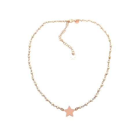 Collana choker girocollo rosario argento 925 oro rosa perle bianche e stella