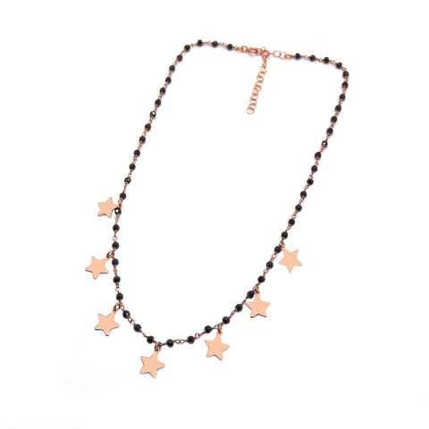 Collana choker girocollo rosario argento 925 oro rosa Spinelli neri e 7 stelle pendenti