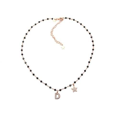 Collana choker girocollo rosario argento 925 oro rosa Spinelli neri iniziale e stella Zirconi