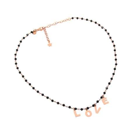 Collana choker girocollo rosario argento 925 oro rosa Spinelli neri LOVE