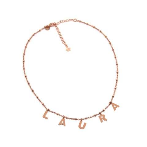 Collana choker rosario argento 925 oro rosa 5 lettere nome personalizzato