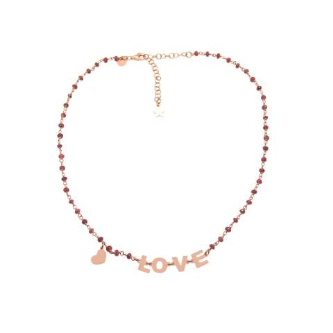 Rose gold sterling silver red Garnet rosary LOVE choker necklace