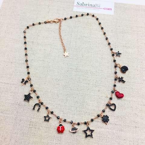 Collana choker rosario argento 925 oro rosa Spinelli neri e 13 charms