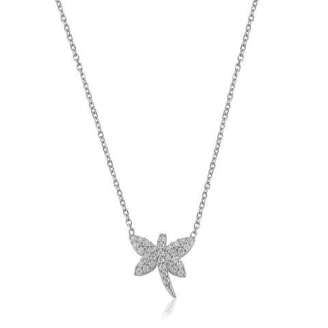 Collana corta argento 925 Libellula brillanti