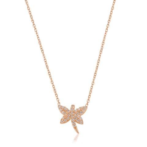 Collana corta argento 925 oro rosa Libellula brillanti