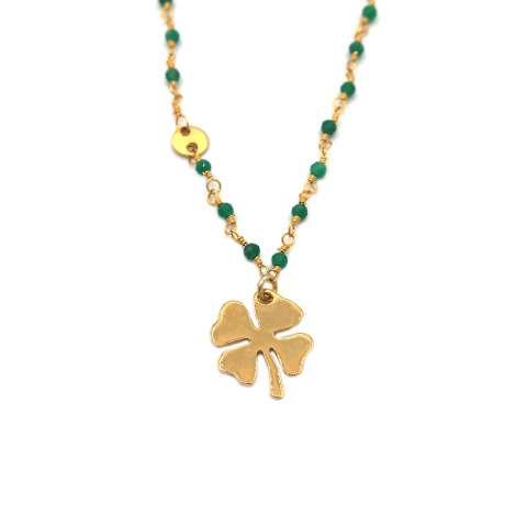 Collana corta rosario argento 925 oro onice verde e quadrifoglio