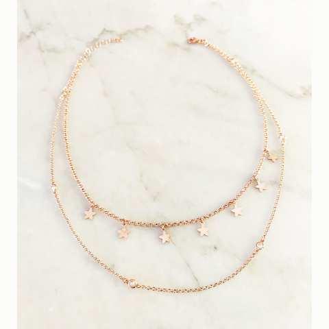 Collana doppia argento 925 oro rosa Eva