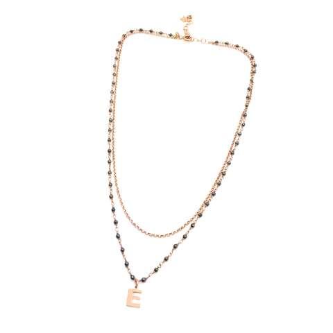 Collana doppia argento 925 oro rosa Olivia