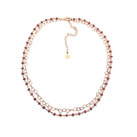 Collana doppia choker rosario argento 925 oro rosa radice di Rubino e catena cuori