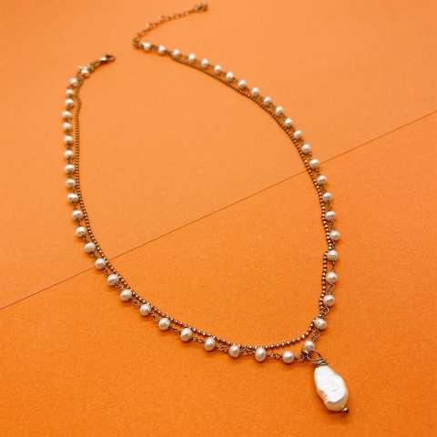 Collana doppia rosario argento 925 oro rosa Perla Barocca