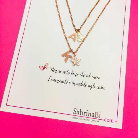 Collana due fili argento 925 oro rosa 2 lettere iniziali Cuore e Stella Zirconi