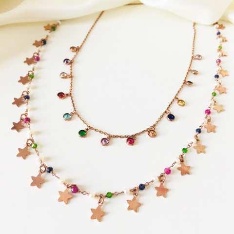 Collana girocollo argento 925 oro rosa cascata Zirconi colorati