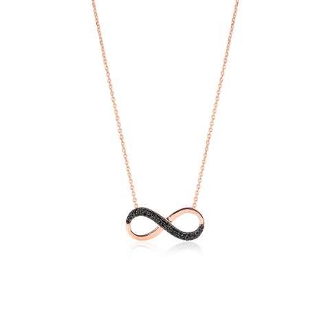 Collana girocollo argento 925 oro rosa Infinito brillanti neri