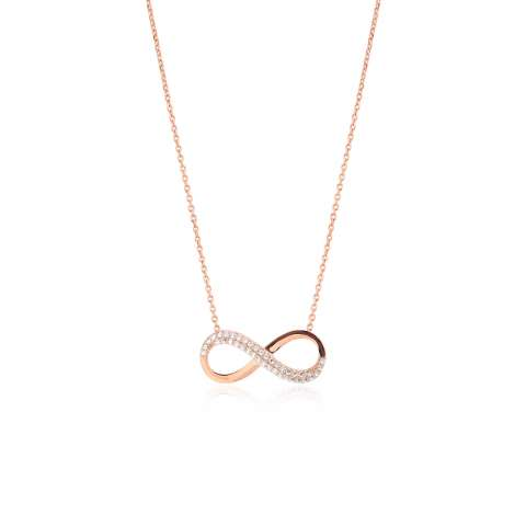 Collana girocollo argento 925 oro rosa Infinito brillanti