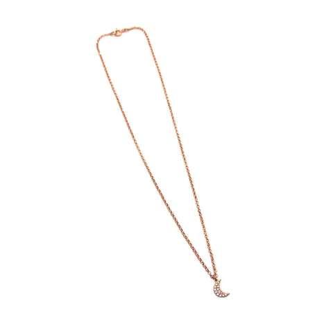 Collana girocollo argento 925 oro rosa Luna Zirconi